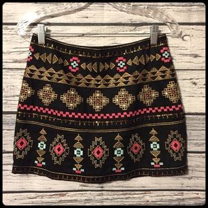Francesca's / Miami Aztec embroidered sequin skirt